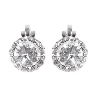 Harga Timmy Queen Round Crystal Earings Clip Style - Anting Jepit Wanita