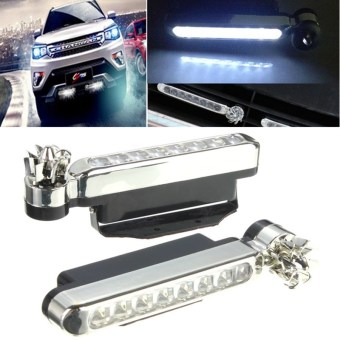 Harga 8 LEDs Wind Powered Automobile DRL Daytime Running Light Fog Auto Head Lamp 12V