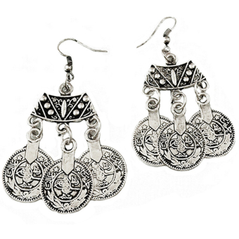 Harga Phoenix B2C 1 Pair Women Fashion Ethnic Jewelry Vintage Coins Drop Dangle Hook Long Earrings
