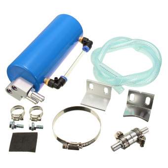 Harga Universal Aluminum Racing Oil Catch Tank/CAN Round Can Reservoir Turbo Blue