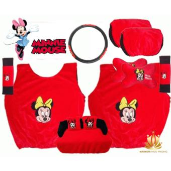 Harga Sarung Jok Mobil Universal 6 in 1 / Bantal Mobil / Car Set Mobil Minnie Mouse / Mini Mouse 6in1