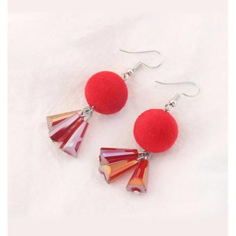 LRC Anting Gantung Trendy Red Fuzzy Ball Decorated Color Matching Earrings