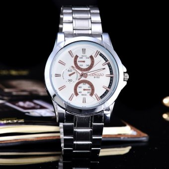 Harga Cenozo - JamTangan Pria - Body Silver – White-Rose Dial – Stainless Stell Band – CNZ-RT-8102G- SW-Rose– StainlessStell Band