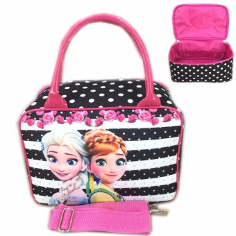 BGC Travel Bag Kanvas Mini + Selempang Frozen Strip - Black White
