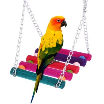 Harga Cute Natural Wood Pet Parrot Bird Swing Toy Hanging Parrot Parakeet Budgie Cockatiel lovebirds Swing Ladder Cage Hammock Hanging Toy - intl