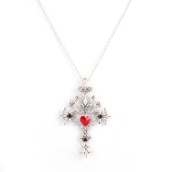 Harga Okdeals Vampire Diaries Sacred Heart Crystal Cross Pendant Lover Necklace