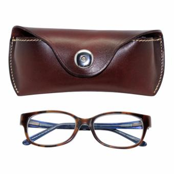Harga Boshiho Retro Cowhide Leather Reading Glasses Eyeglass Case Sunglasses Holder for Men and Women(Dark Brown) - intl