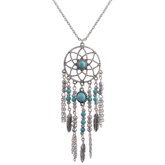 Harga New Fine Bohemia ethnic Jewelry Long sweater chain Dreamcatcher Pendant Turquoise Beads necklace For Women - intl