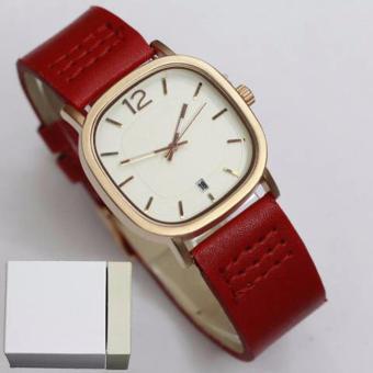 Jam Tangan Casual Wanita Fashion Leather Strap - Merah