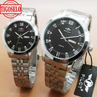 Jam Tangan Couple pilot - Stainless Strap - Silver Black