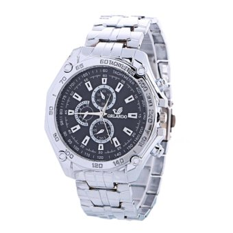 Jam Tangan Stainless Pria Orlando Tachymeter Fashion Man Watch Elegant -Black-