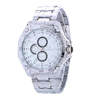 Jam Tangan Stainless Pria Orlando Tachymeter Fashion Man Watch Elegant -White-