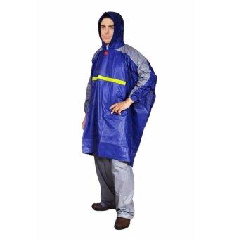 Ukuran Plus tebal pria dan wanita dewasa ponco sepeda motor jas hujan Biru .