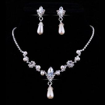 Jetting Buy Bridal Pernikahan Super Pesona Mutiara Imitasi Kalung Perhiasan Set Anting-Anting Berlian Imitasi