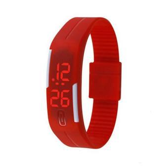 Jiayiqi Layar Sentuh LED Digital Silicone Sport Jam Tangan Pria Wanita Jam Tangan Gelang Merah-