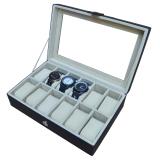 Detail Gambar Jogja Craft Black Cream Watch Box / Tempat Jam / Kotak Jam Tangan Isi 12 Terbaru