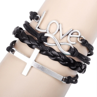 Jo.In Alloy Anchor Rudder Leather Friendship Love Couple Charm Bracelet (Multicolor)