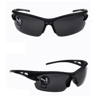 Kacamata Sport Sepeda Lensa Mercury Anti UV Frame Rubber Tahan Bentur Hitam Sunglasses Bicycle
