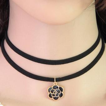 LRC Kalung Wanita Temperament Black Flower Pendant Decorated Double Layer Necklace