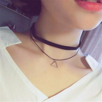 LRC Kalung Wanita Vintage Balck Hollow Out Star Pendant Decorated Double Layer Choker Necklace