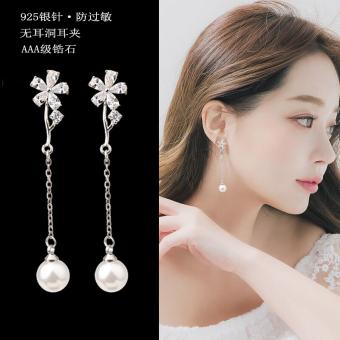 Korea Fashion Style bunga zirkon style bagian panjang anting-anting rumbai anting