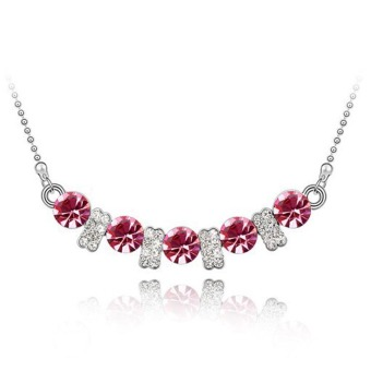 La Vie Jewelry 925 Sterling Silver Zircon Love Pendant Necklace(Red Rose)