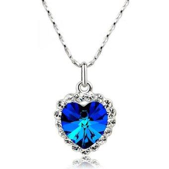 La Vie Perhiasan Pelat Perak Zirkon Hati Kalung Lucky Number (Safir)