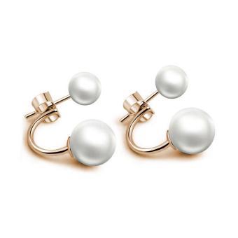 Wanita 925 Sterling Perak Pearl Giwang Menguntil Perhiasan Anting Bergaya Elegan