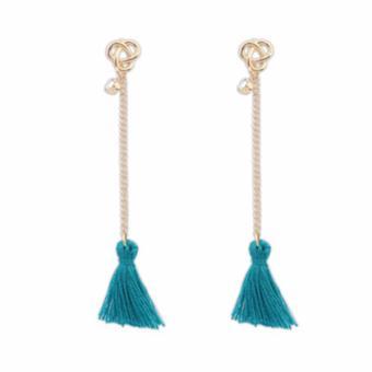 LRC Anting Bohemia Diamond Decorated Tassel Design Alloy Stud Earrings