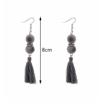... Color Matching Simple Earrings. Source · LRC Anting Gantung Bohemia Fuzzy Ball Decorated Tassel Earrings .
