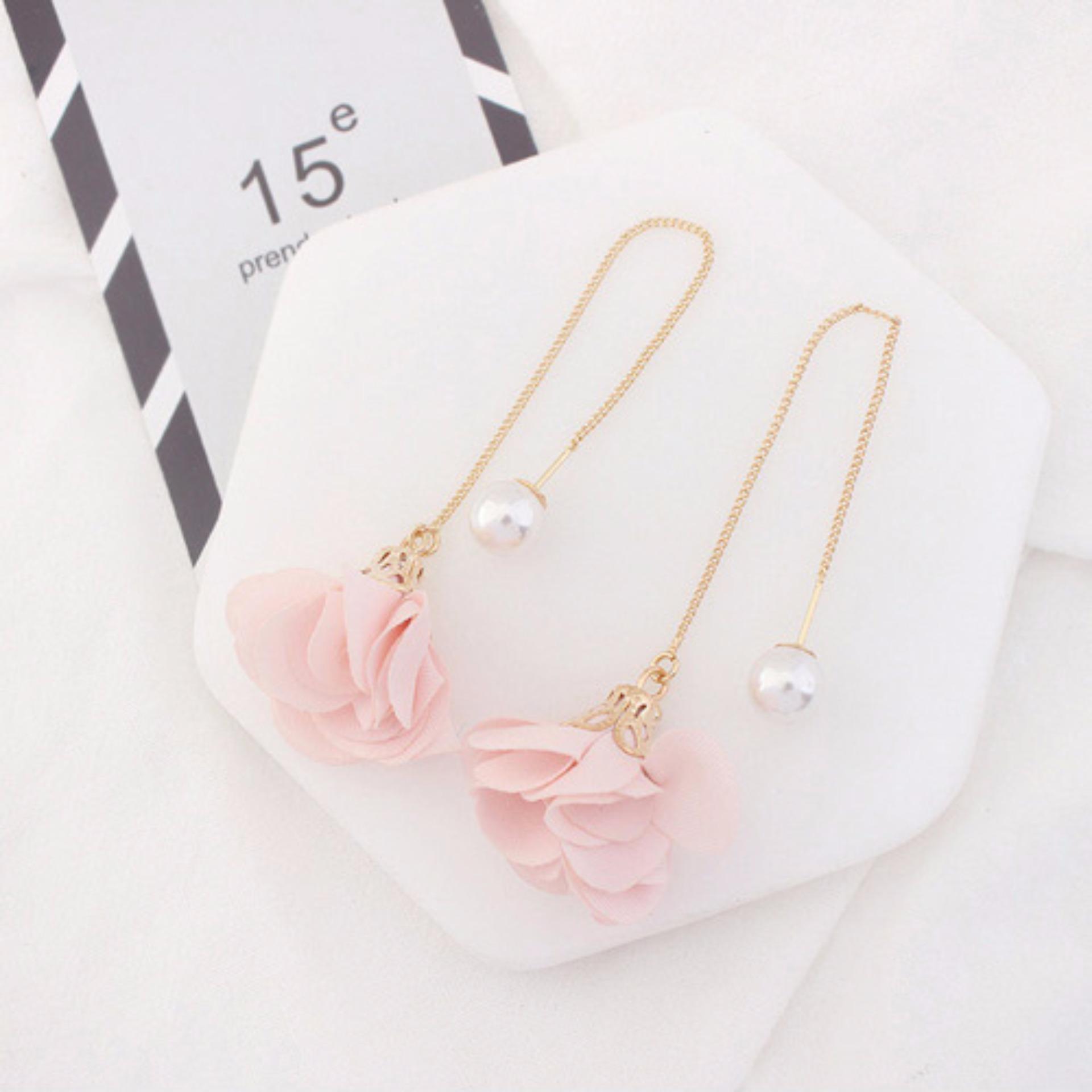 Shock Price LRC Anting Gantung Elegant Pink Flower Shape Decorated Simple Long Chain Earrings penjualan -
