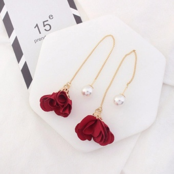 LRC Anting Gantung Elegant Red Flower Shape Decorated Simple Long Chain Earrings