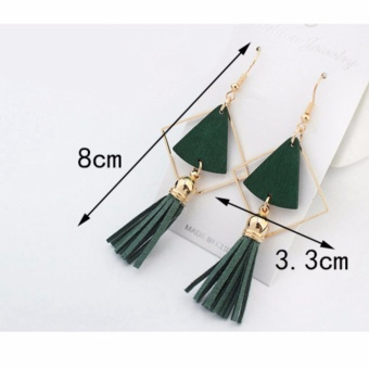 LRC Anting Gantung Fashion Fan Shape Decorated Hollow Out Tassel Simple Earrings .