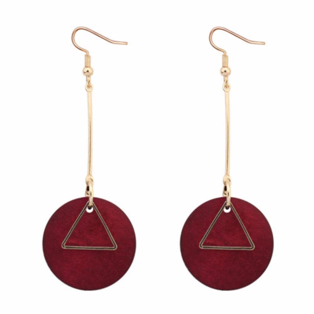 Review of LRC Anting Gantung Fashion Red Round Shape Pendant Decorated Simple Earrings belanja murah -