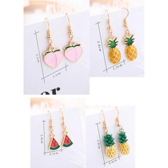 LRC Anting Gantung Fashion Yellow+green Pineapple Shape Decorated Earrings .