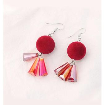 LRC Anting Gantung Trendy Dark Red Fuzzy Ball Decorated Color Matching Earrings