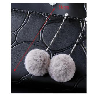 LRC Anting Jepit Lovely Fuzzy Ball Decorated Pom Earrings .