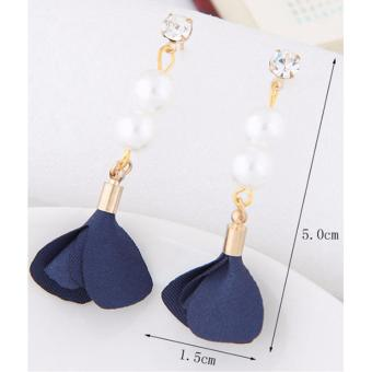 LRC Anting Tusuk Elegant Red Pearl&diamond Decorated Flower Pure Color Earrings .