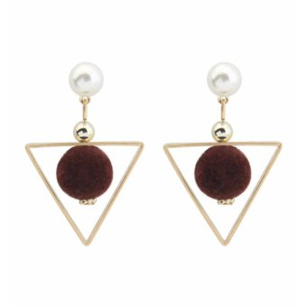 LRC Anting Tusuk Fashion Coffe Fuzzy Ball&triangle Shape Decorated Color Matching Earrings