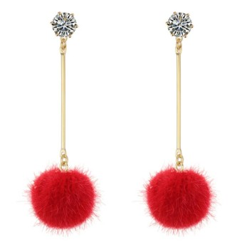 LRC Anting Tusuk Fashion Fuzzy Ball Decorated Long Pom Earrings