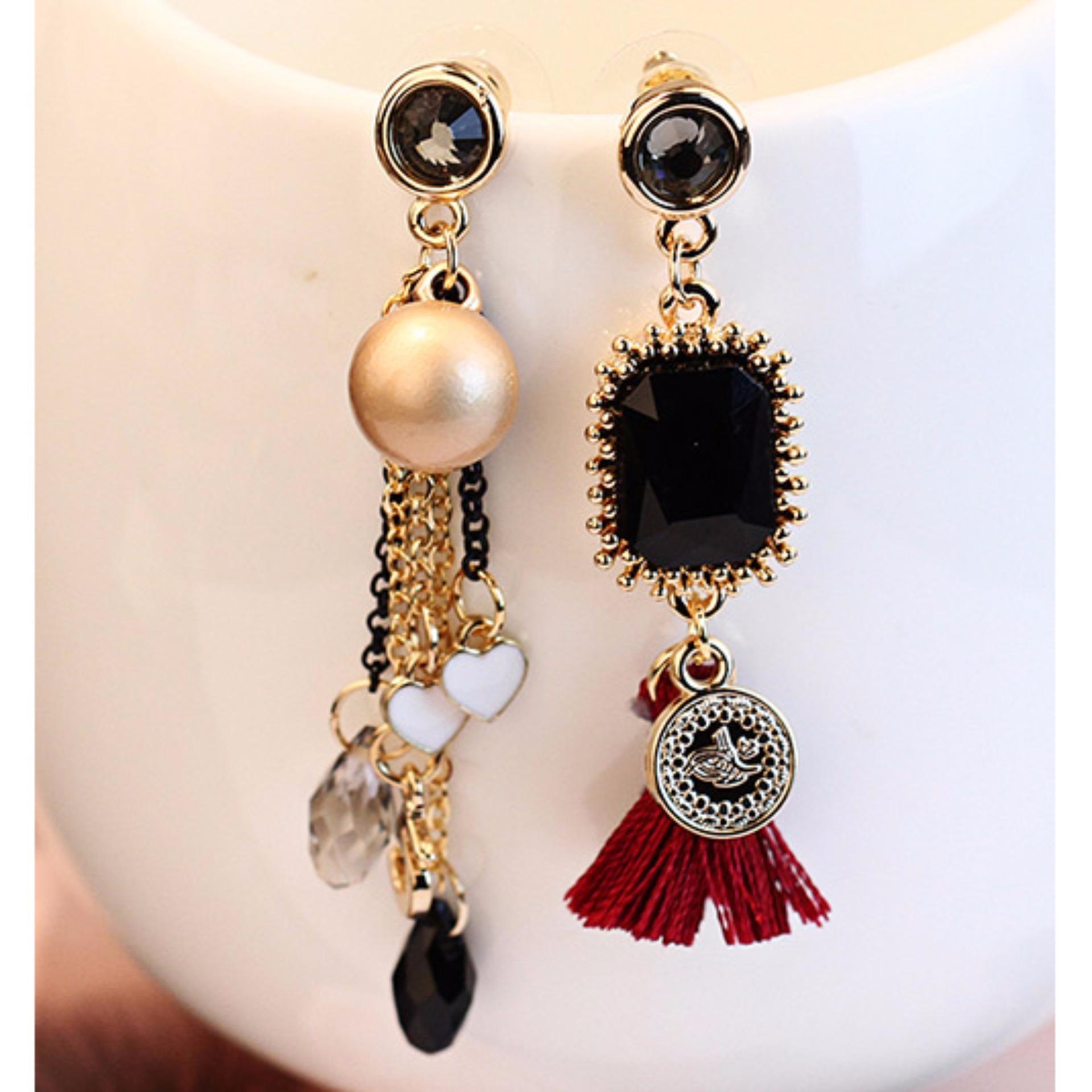 Shock Price LRC Anting Tusuk Fashion Tassel&pearls Decorated Color Matching Earrings penjualan - Hanya Rp30.