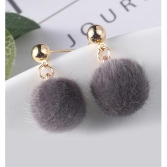 LRC Anting Tusuk Lovely Fuzzy Ball Decorated Pom Earrings