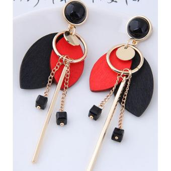 LRC Anting Tusuk Personality Oval Shape Decorated Earrings