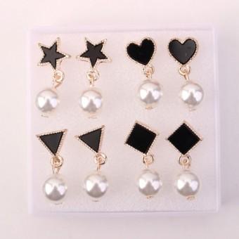 LRC Anting Tusuk Sweet Black Love Shape Decorated Pearl Earrings