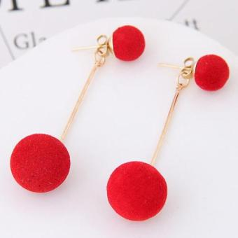 LRC Anting Tusuk Sweet Double Fuzzy Balls Pendant Decorated Pure Color Simple Earrings