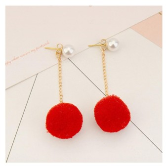 LRC Anting Tusuk Sweet Fuzzy Ball&pearls Decorated Pom Earrings