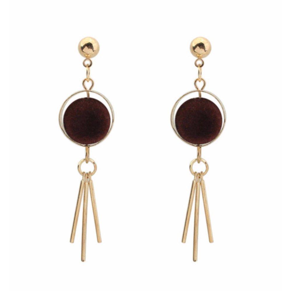 ... Hot Deals LRC Anting Tusuk Trendy Coffee Tassel Pendant Decorated Color Matching Simple Earrings terbaik murah