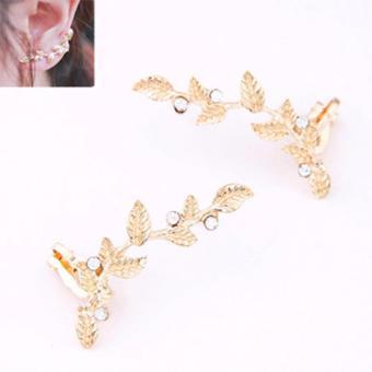 LRC Anting Wanita Gold Color Diamond Decorated Leaf Shape Design Alloy Stud Earrings
