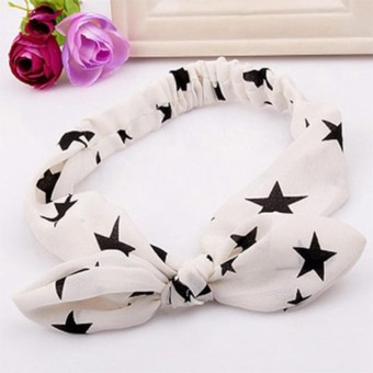 LRC Bando fabulous White Star Pattern Decorated Bowknot Design Fabric Hair band hair hoop