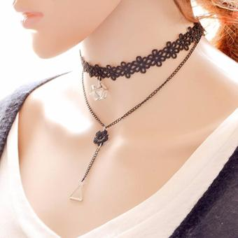 LRC Kalung Wanita Elegant Black Triangle Tassel Pendant Decorated Double Layer Necklace